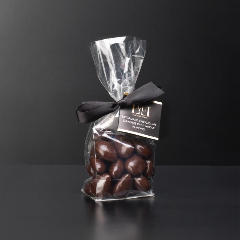 Extra dark chocolate dragées with whole almond