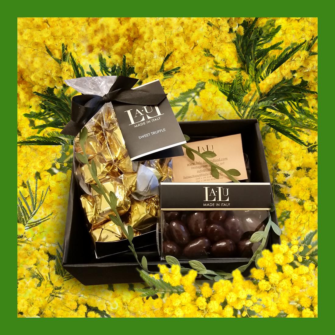 Box degustazione – tartufi dolci e praline cioccolato extra fondente con cuore di mandorla